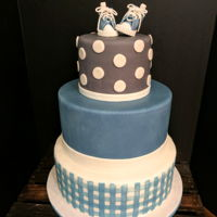 Gingham And Hightops Baby boy shower cake