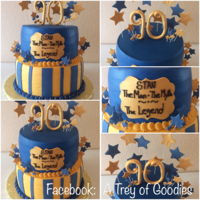 Gold And Royal Blue 90Th Birthday Cake I made this cake for a young gentleman of 90. His favorite colors are gold and royal blue. I iced the cake in buttercream icing and trimmed...