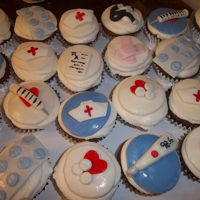 Graduating Nurse Just butter cream with home made fondant toppers in thermometers, hearts, & pills