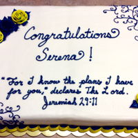 Graduation Cake Girls graduation cake. Two toned yellow/blue roses