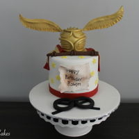 "Harry Potter Birthday Cake One of my new favourites! Made this cake for a client of mine, it's a 5"" cake decorated with the Golden Snitch, Harry Potter'..."