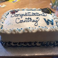 High School Graduation 1/2 sheet - marble cake - with buttercream frosting - fondant cap with royal icing tassel - sugar sheet of school