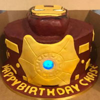 "Iron Man 10"" white almond cake rkt head flashlight covered in fondant and inserted with isomalt covering the hole for the light"