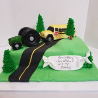 It's My Birthday, Time To Retire The John Deere Tractor, and School Bus were both made of rice crispies.