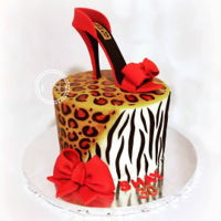 Leopard And Zebra Print Birthday Cake With High Heel Shoe 8'' Strawberry cakeairbrush ,hand painted , gumpaste high heel shoe