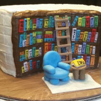 Library For a kid who loves book! Buttercream with fondant accents.