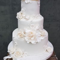 Lovely All White Weddingcake (Made During A Power Outage) all they wanted was a white cake, I used different shades of white.And horror while ganaching the cake all became dark and sillent.... a...