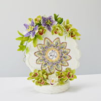 Mandala Cake Free hand painted mandala on fondant covered chocolate sponge cake, decorated with freeformed sugar flowers: passion flowers and cymbidium...