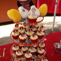 Mickey Mouse Cupcake Tower Vanilla and Chocolate Cupcakes with cream chease frosting