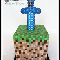 Minecraft Cake Minecraft Cake - 1,600 square pixels were used to create a grass cube & diamond sword with an 8 inch square cake.