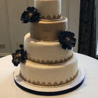 Navy And Gold Wedding Cake Navy and gold themed wedding cake. Satin Ice ivory fondant. Chocolate cake filled with chocolate ganache and raspberries. Used FMM textured...