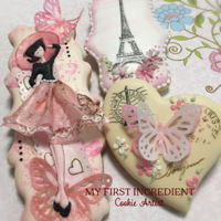 Paris Cookies Vanilla sugar cookie. With a mixed media Paris theme using royal icing, wafer paper and stamps