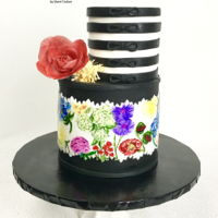 Pretty Painted Florals I loved making this cake! I always enjoy painting on a cake, and I have been obsessed with wafer paper flowers lately! TFL!!