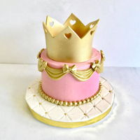 "Princess Smash Cake 5"" diameter buttercream smash cake accented w/ gold decorations hand painted in gold luster dust"