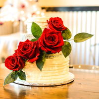 Rustic, Roses, And Silvery Sugars Small wedding cake