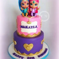 Shimmer And Shine Birthday Cake 6''+8'' vanilla and chocolate cake