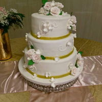 Simple Elegance This elegant 3 tier wedding cake was made of sugar gum paste flowers