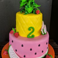 Summer Picnic Watermelon and pineapple birthday cake. Everything is edible.