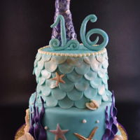 """sweet 16"" Mermaid Cake All details, including scales and shells, starfish, etc. made from modeling chocolate. Tail on top is R/K treats covered with modeling..."