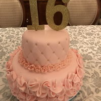 Sweet 16 Pretty In Pink Simple two tiered fondant cake. The mother and aunts all teared up when the cake was delivered.