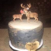 The Hunt Is Over Groom's Cake Buttercream Frosting on 3- 8' inch layers. Multiple colors of buttercream combined to make the tree bark, then '...