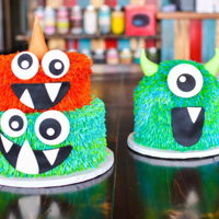 Three Fuzzy Monsters For another first birthday - smash cake and guest cake