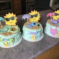 Triple Birthday - 3 Cakes For 3 Kids Pool themed birthday.