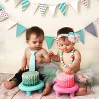 Twin Scalloped Ombre Smash Cakes how stinking adorable are they?!