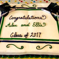 Twins Graduation Cake Boy/girl twins graduation cake. Buttercream frosting.