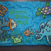 Under The Sea Buttercream transfer marble cake