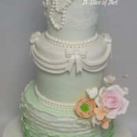 Victorian Lace Wedding Cake Lovely pastel green victorian themed wedding cake. Sugar roses and rununculus