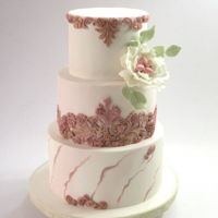 Wedding Cake This is my last weekend´s job. A 3 tiered wedding cake in which I used the bas relief technique painted in rose gold and marbling...