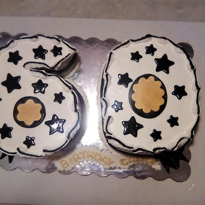 60Th Birthday Cake Vanilla and chocolate cakes with Bavarian creme filling and champagne flavored buttercream