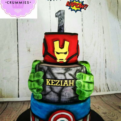 Avengers Cake 3tier Captain America, hulk and Iron Man.