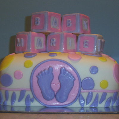 Baby Shower For Girl vanilla cake with modeling chocolate decorations