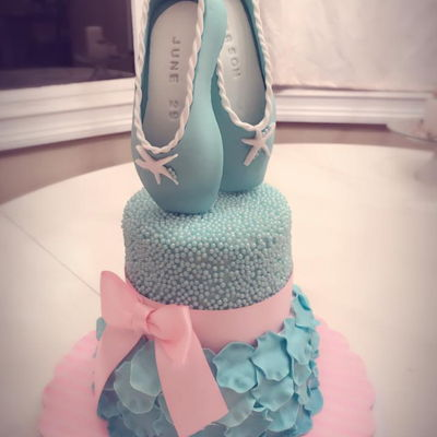 Ballerina Birthday Cake Ballerina cake with custom hand made fondant ballerina shoes. The bottom layer is vanilla with vanilla buttercream and the top tier is a...