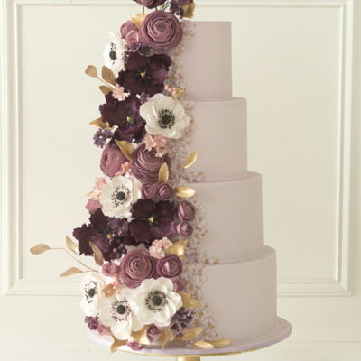 Bas Relief And Florals Purple Wedding Cake