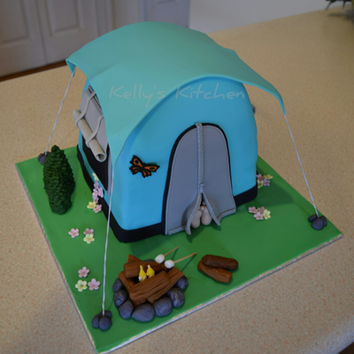 Camping Themed Birthday Cake