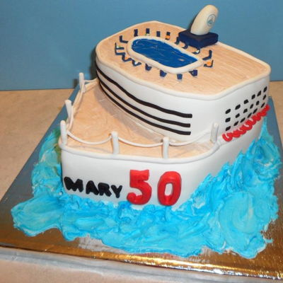Cruise Ship Princess flavored cake with modeling chocolate decorations
