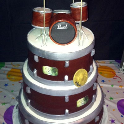 Drum Cake My friend's husband plays the drums. He loved his birthday cake!