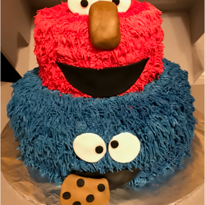 Elmo And Cookie Monster Cake Two of our favorite Sesame Street characters... Elmo and Cookie Monster!