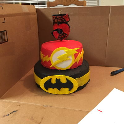Flash/batman/spiderman My son's 5th Superhero birthday cake.