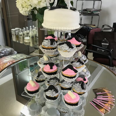 Hair Salon Cupcakes These cupcakes were made for a hair salon event. The decorations on the cupcakes are chocolate hair rollers and hair dryers. The...