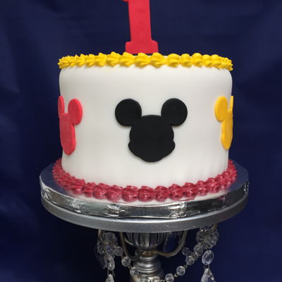 It's A First Birthday Baptism Mickey Theme Cake