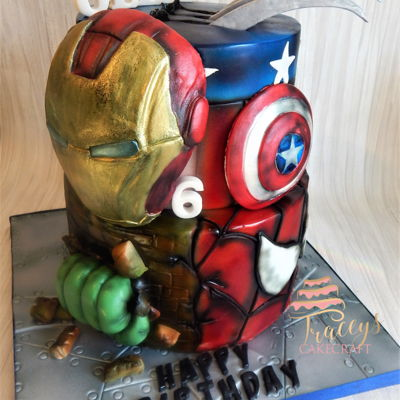 Marvel Superhero Cake Had some fun with this, made for someone who loves the Avengers & Wolverine!