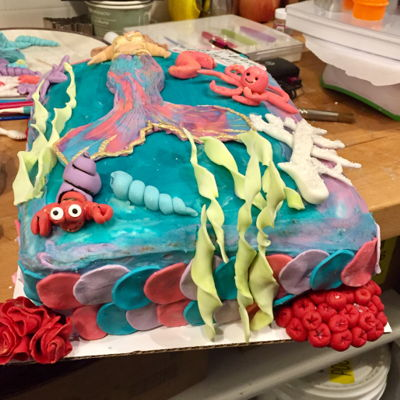 Mermaid Under The Sea Cake, Smash Cake, And Cupcakes For A Girl's 1St Birthday When we were deciding what my client's needs were we decided on 3 items 1 Smash cake, 1 quarter sheet cake with two different flavor...