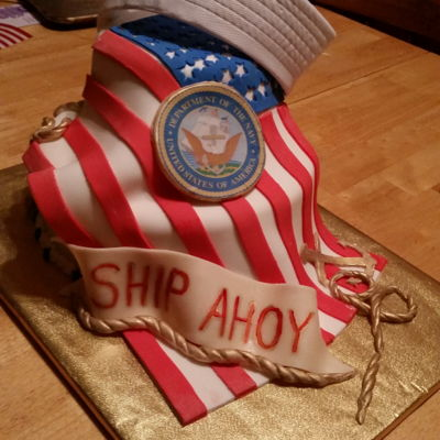 Ships Ahoy! Going away cake for a young man that joined the NAVY