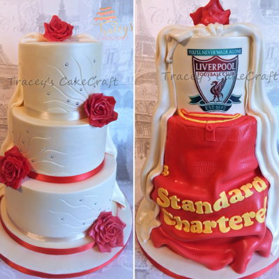 Surprise Back Wedding Cake Elegant wedding cake with surprise back made for my best mates wedding who's other half is a massive Liverpool fan!
