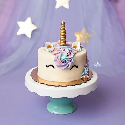 Unicorn Smash Cake A fun and magical unicorn smash cake made for a 1st birthday smash cake session