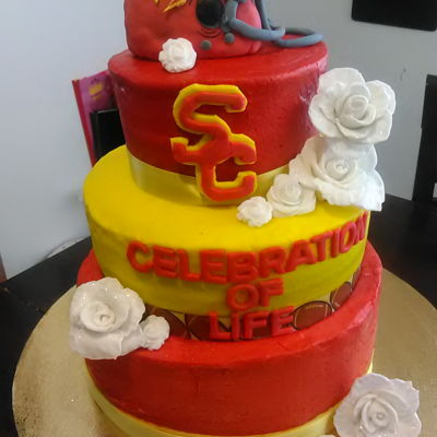 Usc Baby Shower Cake All buttercream with fondant decor.